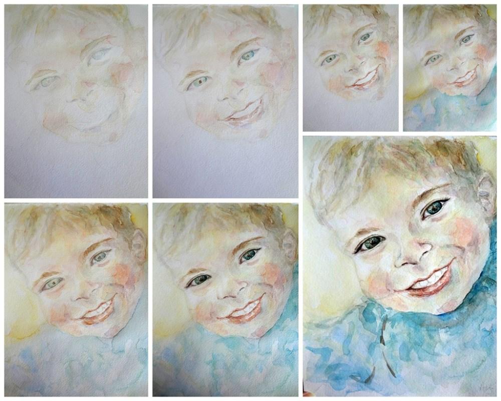 Custom Child Boy Portrait Watercolor Painting 8 x 10 , Aeris Osborne, Step By Step (1024 px)