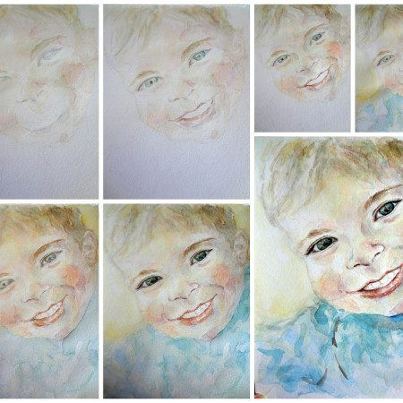 Custom Child Boy Portrait Watercolor Painting 8 x 10 , Aeris Osborne, Step By Step (1024 px)