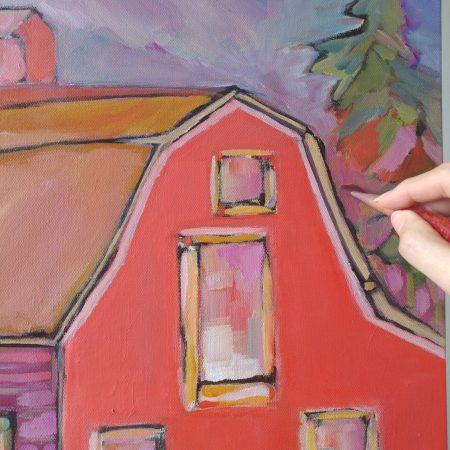 Alberta Red Barn Painting