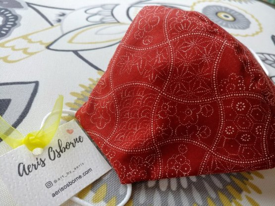 Premium 3 Layers Red Patterns Japanese Cotton Face Masks with Filter Pocket And Nose Wire 1