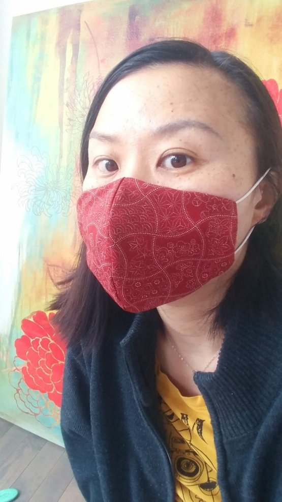 Premium 3 Layers Red Patterns Japanese Cotton Face Masks with Filter Pocket And Nose Wire 2
