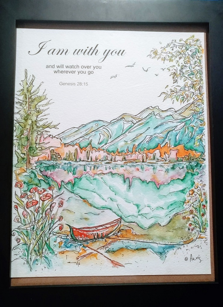 I Am With You Watercolor Ink Pen Drawing