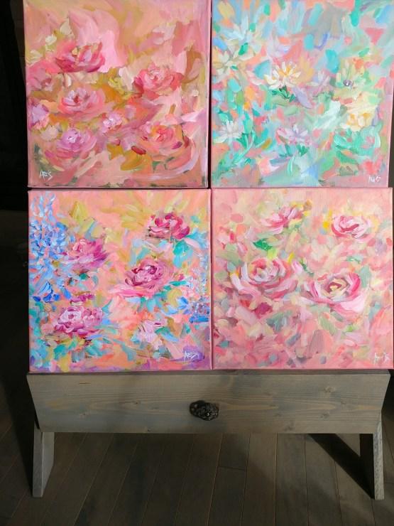 Corel Summer Abstract Floral Original Acrylic Painting By Aeris Osborne 1