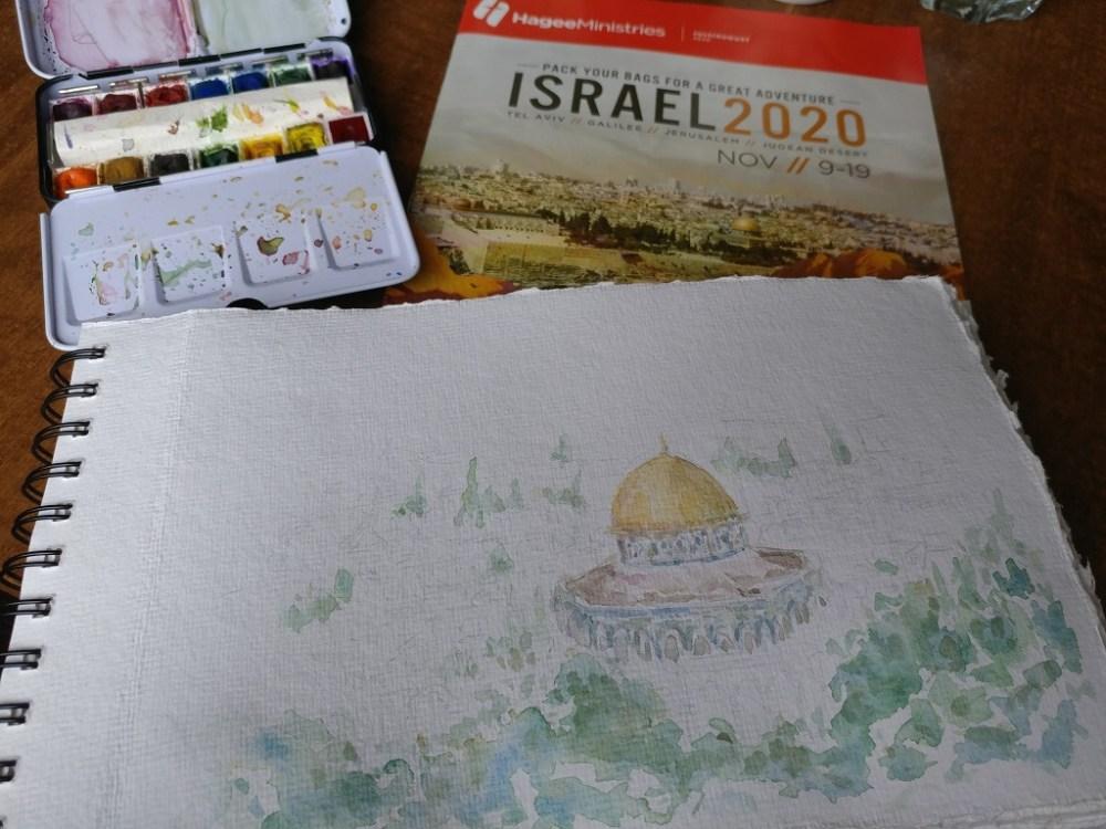 Israel Temple Mount Watercolor Painting On Handmade Watercolor Paper By Aeris Osborne