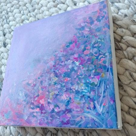 Violet Veil 8 x 8 Acrylic Painting By Aeris Osborne