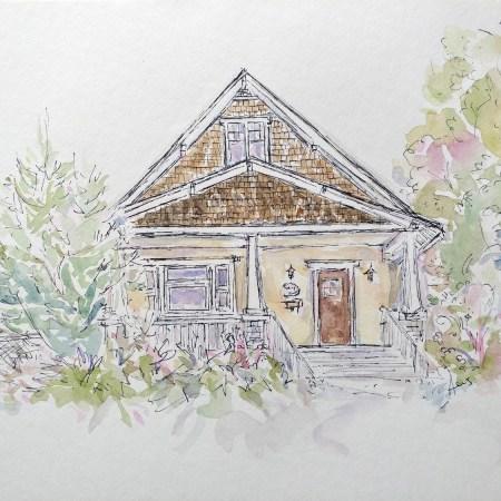 McLuhan House Watercolor Painting