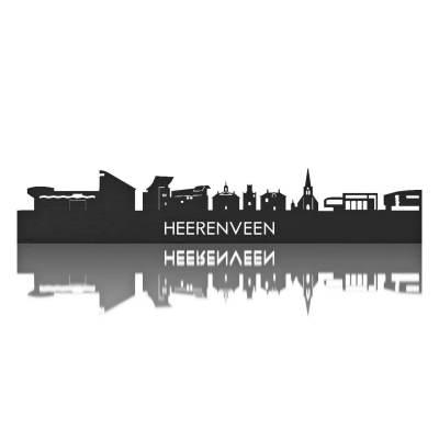Heerenveen Skyline Black Wall Front