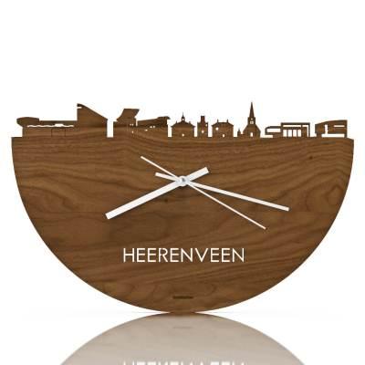 Heerenveen Skyline Walnut Clock Front