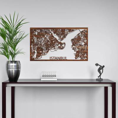 Istanbul Skyline Rosewood City Map Wall