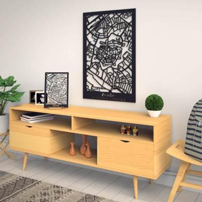 Zwolle Skyline Black City Map Dresser