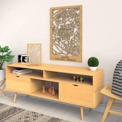 Zwolle Skyline Oak City Map Dresser