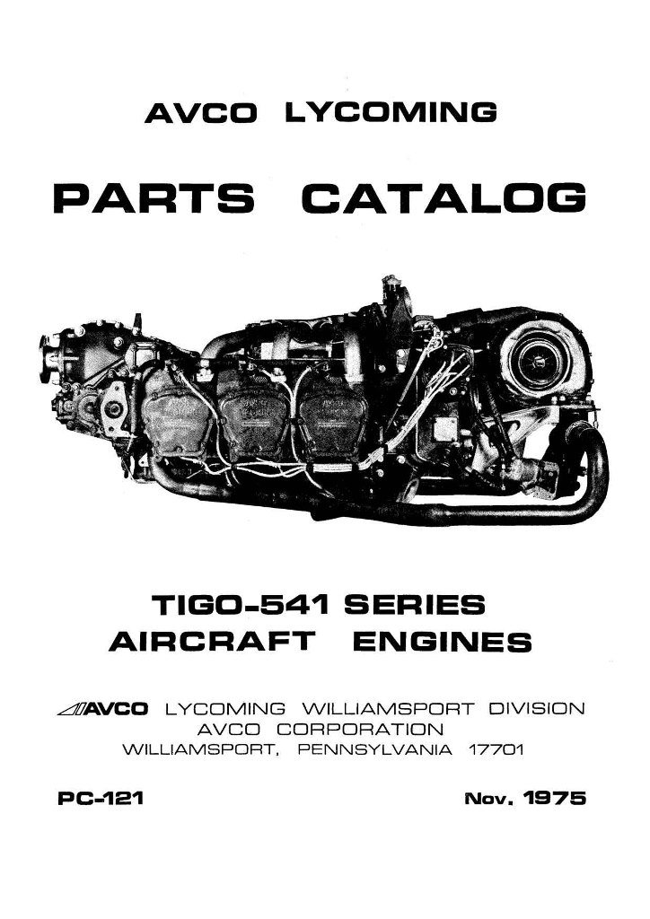 Lycoming Parts Catalog PC-121