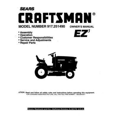 917.251490 18.5 HP Owner's Manual Lawn Tractor Craftsman $4.95