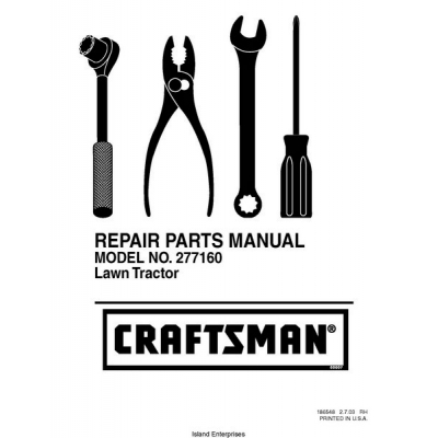 Craftsman 277160 Lawn Tractor Repair Parts Manual 2003 $4.95