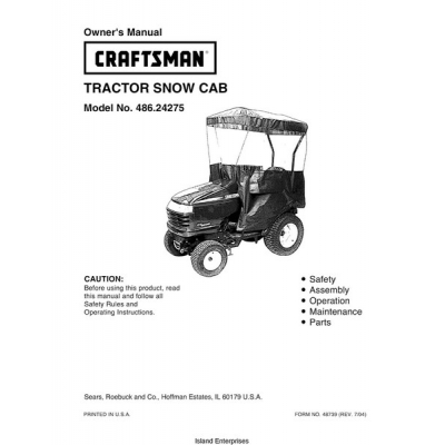 Sears Craftsman 486.24275 Tractor Snow Cab Owner's Manual
