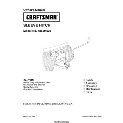 Sears Craftsman 486.24535 Sleeve Hitch Owner's Manual 2004