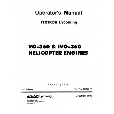 Lycoming Operator's Manual Part # 60297-11 VO-360 & IVO