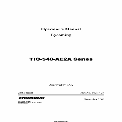Lycoming Operator's Manual TIO-540-AE2A Series Part