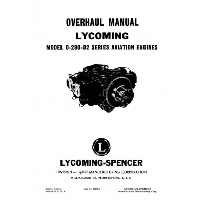 Lycoming Overhaul Manual 60298-1 O-290-D2 $13.95