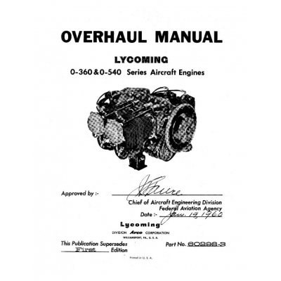 Lycoming Overhaul Manual 60298-3 O-360 & O-540 Series $13.95