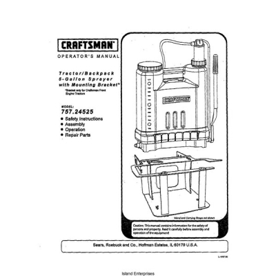 Sears Craftsman 757.24525 Tractor/Backpack 5-Gallon