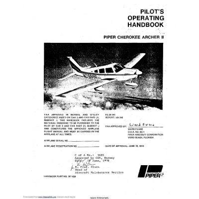 Piper Cherokee Archer II PA-28-181 Pilot's Operating