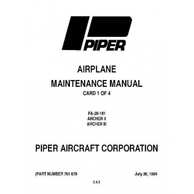 Piper Archer II & III Maintenance Manual PA-28-181 $13.95