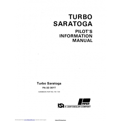 Piper Turbo Saratoga PA-32-301T Pilot's Information Manual
