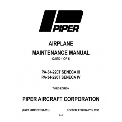 Piper Seneca III/IV Maintenance Manual PA-34-220T $13.95