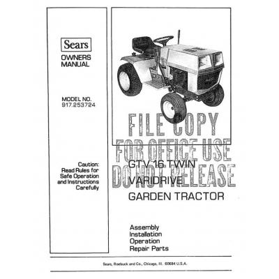 Sears 917.253724 16HP GTV 16 Twin Varidrive Garden Tractor