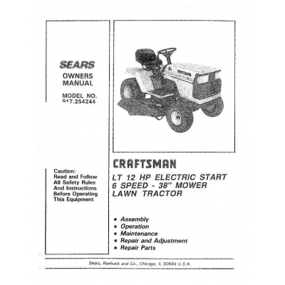 Sears Craftsman 917.254244 LT 12 HP Electric Start 6 Speed