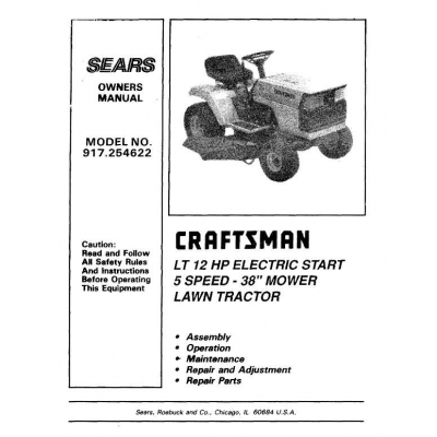 Sears Craftsman 917.254622 LT 12 HP Electric Start 5 Speed
