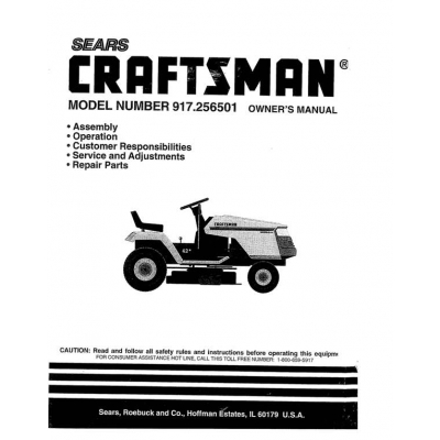 917.256501 13.5 HP Owner's Manual Sears Craftsman $4.95