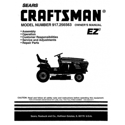 917.256563 19 HP Owner's Manual Lawn Tractor Craftsman $4.95