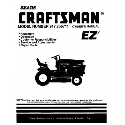 917.256711 18.0 HP Owner's Manual Garden Tractor Sears