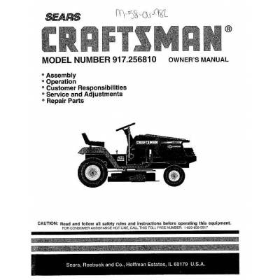 917.256810 15.5 HP Owner's Manual Sears Craftsman $4.95
