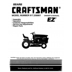 917.258861 18.5 HP Owner's Manual Lawn Tractor Craftsman $4.95