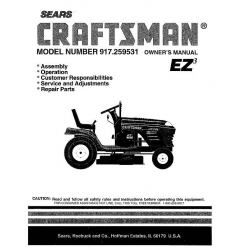 Sears Craftsman 917.259531 15.5 HP Tractor Owner's Manual