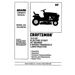 Sears Craftsman 944.609760 16.0 HP Electric Start 42