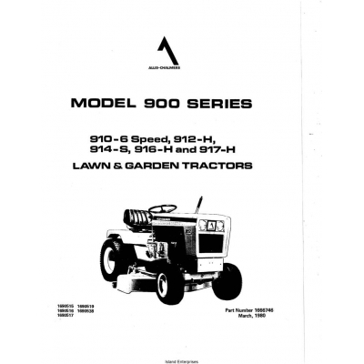 Allis Chalmers Model 900 Series 910-6 Speed Owner's Manual