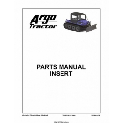 Argo Tractor Parts Manual Insert 2009 $4.95