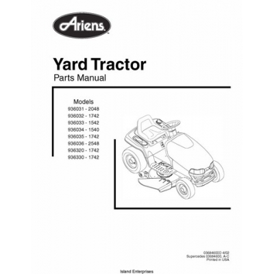 Ariens 936031 thru 936330 Yard Tractor Parts Manual 2000