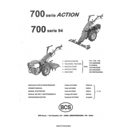 BCS 700 Series Action 710 thru 732 Two Wheel Tractors