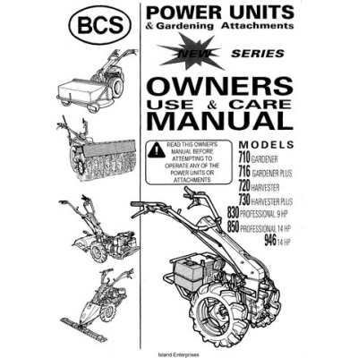 BCS 701 thru 946 Power Units & Gardening Attachments
