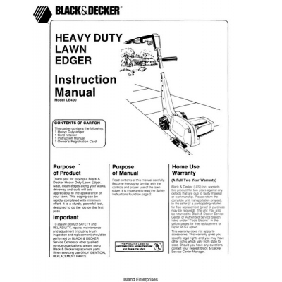 Black and Decker LE400 Heavy Duty Lawn Edger Instruction