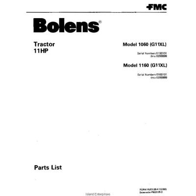 Bolens 1060 (G11XL) Tractor 11HP Parts List 1980 $4.95
