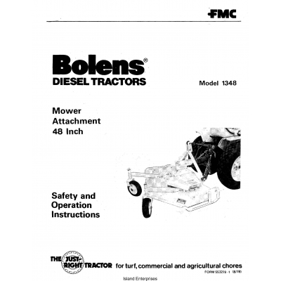 Bolens 1348 Diesel Tractors Mower Attachment 48 inch