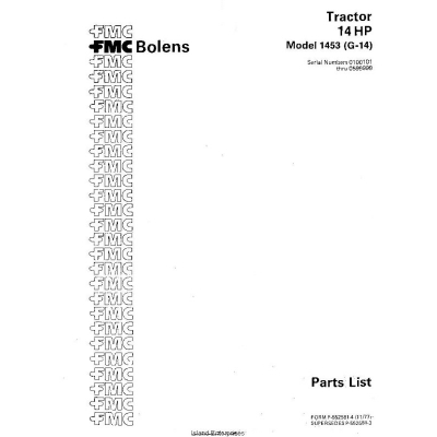 Bolens 1453 (G-14) Tractor 14HP Parts List 1977 $4.95