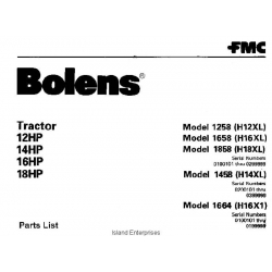 Bolens 1658 (H16XL) Tractor 12HP, 14HP, 16HP & 18HP Parts