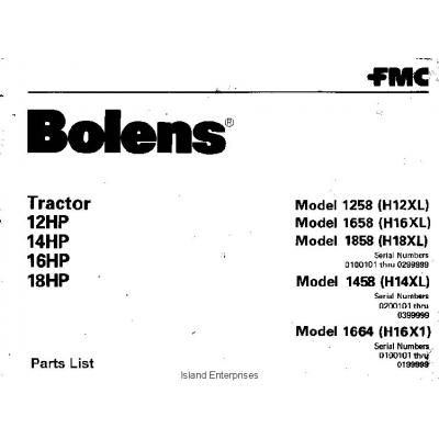 Bolens 1664 (H16X1) Tractor 12HP, 14HP, 16HP & 18HP Parts